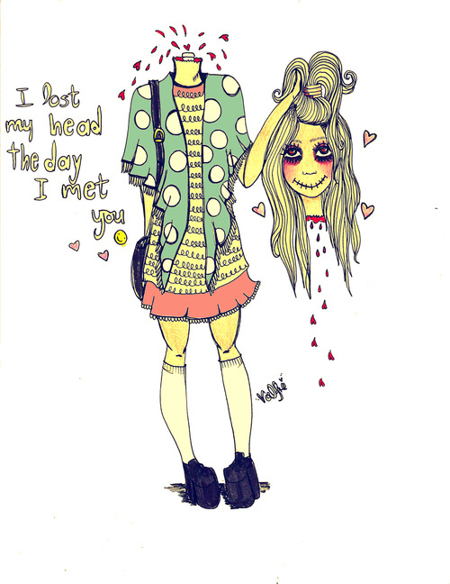 cute, doll, drawing, eyes, fashion, girl, hair, illustration, ilse valfre, love, quote, valfre, you