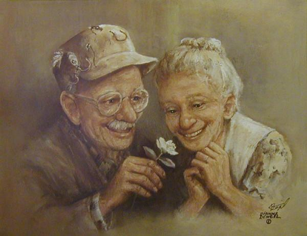 cute, drawing, flower, grandmother, grandpa, love, old people