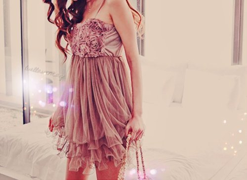 cute, dress, fashion, frilly, girly, hair, pink, purse, rosy