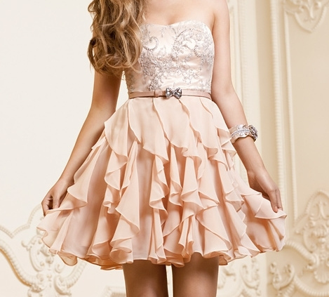 cute, dress, fashion, girly, hair, peach, pink, white
