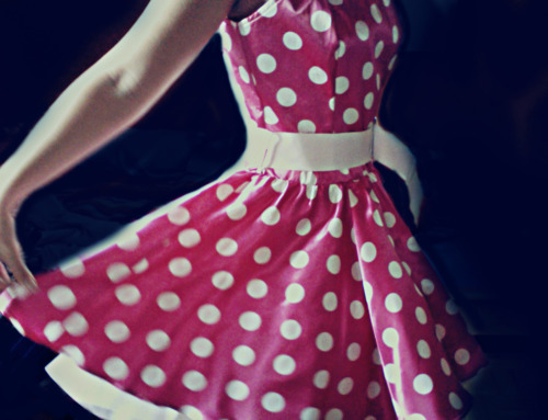 cute, dress, fashion, girly, pink, polka-dot, white