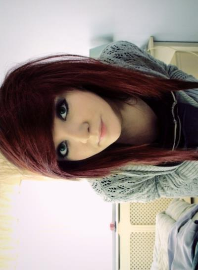 cute, emo girl , green eyes, red hair