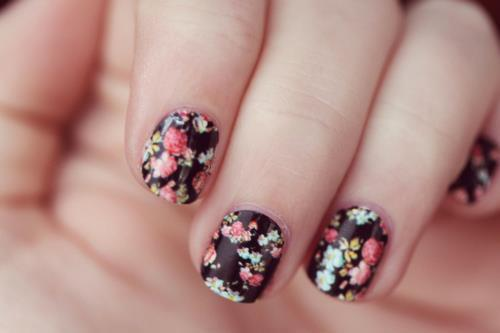 cute, fashion, flowers, flowery, nails, nice, vintage