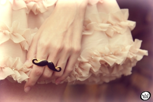 cute, fashion, girl, mostache, moustache, mustache, pink, ring, skirt