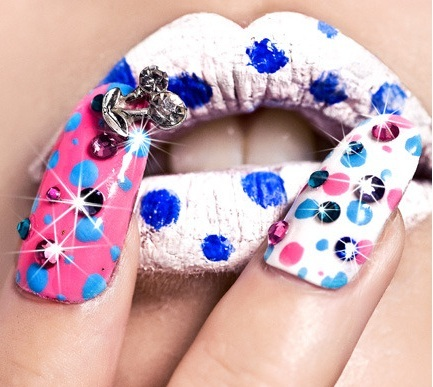 cute, fashion, glitter, lips, lipstick, make up, nails, polka dots, pretty, sparkles