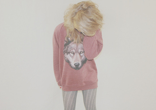 cute, fashion, jumper, wolf, woman