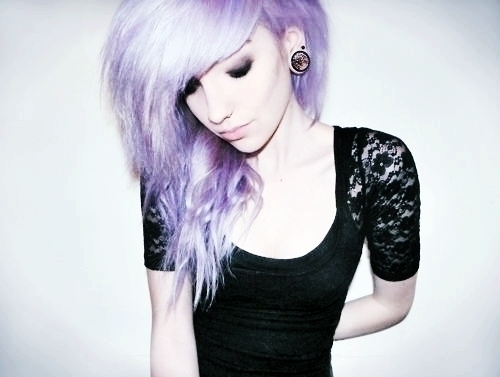 cute, floral, gauge, girl, gorgeous, lace, pale, pretty, purple hair, scene, thin