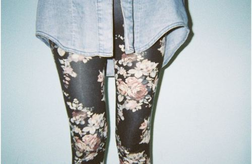 cute, flower print, jean shirt, leggings, roses
