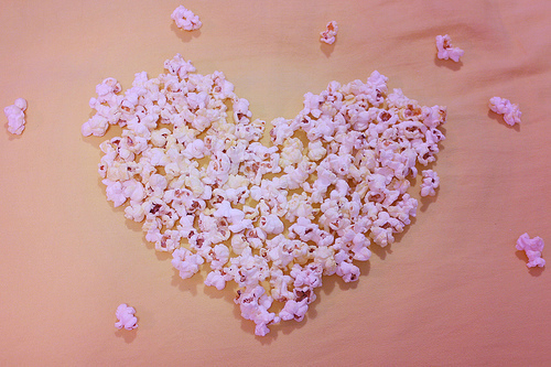 cute, food, heart, love, popcorn