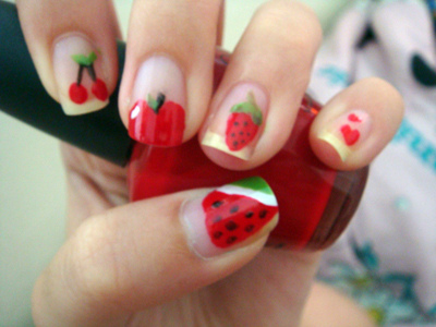 cute, fruites, fruits, nails, red
