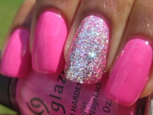 cute, gina glaze, girly, glitter, nail, nail polish, nails, pink, pretty