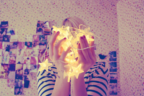 cute, girl, girly, lights, star