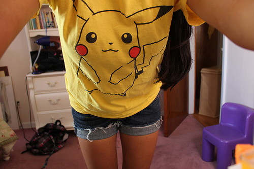 cute, girl, hair, pikachu, pokemon, pretty, style, t-shirt