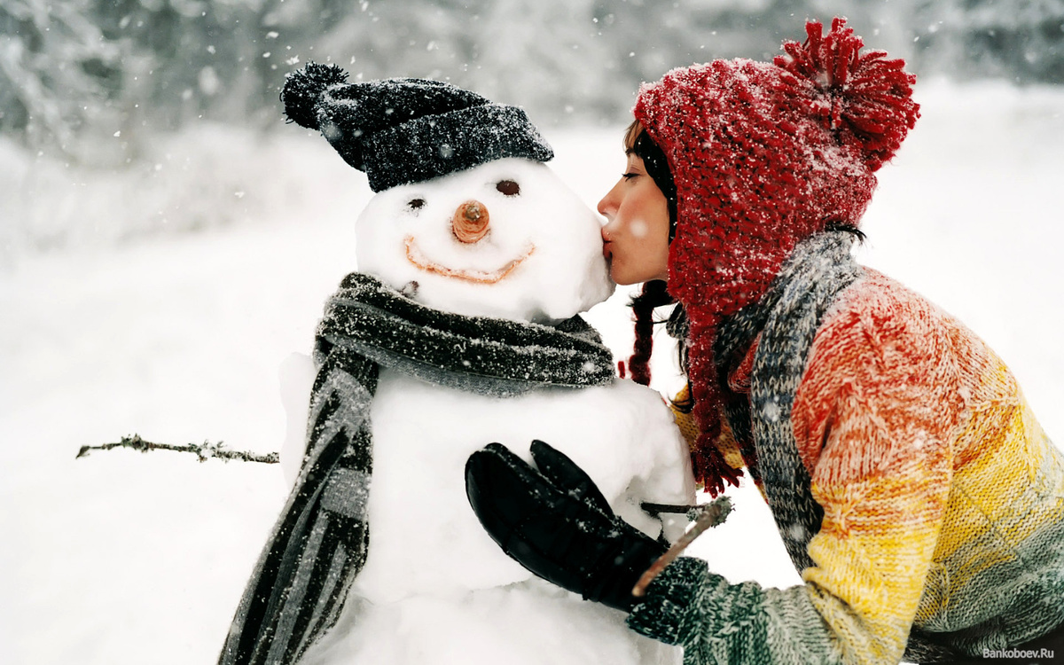cute, girl, kiss, love, snow