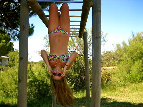 cute, girl, pattern, photography, skinny, summer, sunglasses, swim suit, tan, upside down