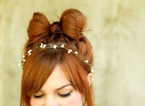 cute, hair, hair bow, hairstyle, red hair