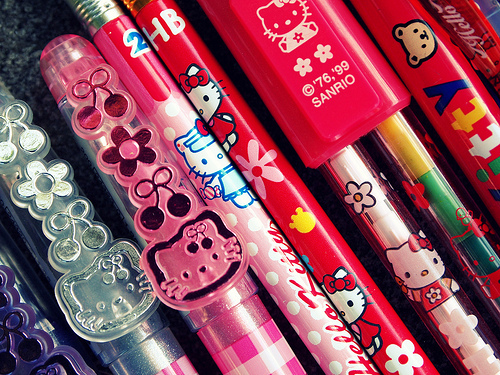 cute, hello kitty, japan, japanese, kawaii, kitty, pen, pencil, sanrio, stationery
