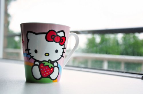 cute, hello kitty, mug, red
