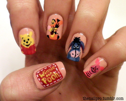 cute, nails, pink, winnie the pooh