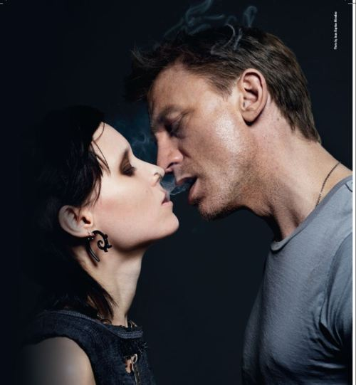 daniel craig, dragon tattoo, girl, hot, movie, poster, promo, rooney mara, sexy, smoke