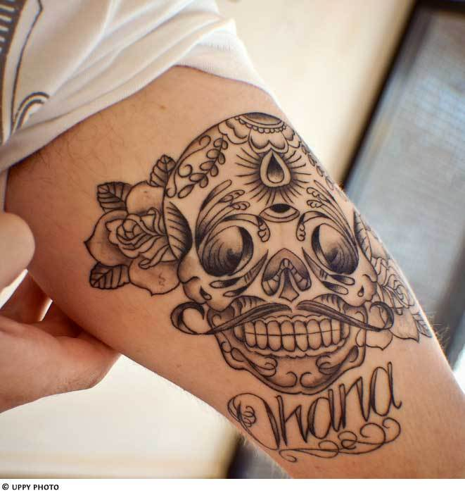 day of the dead, skulls, sugar skulls, tattoo