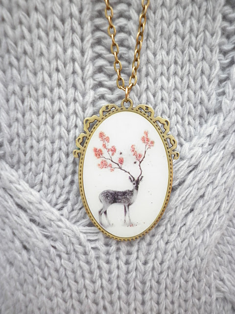 deer, dress, flowers, jumper, necklace, new yorker, retro, vintage