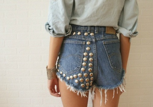 denim, fashion, shorts, skinny, studded