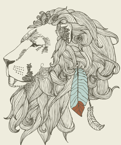 design, feather, indian, lion, tattoo