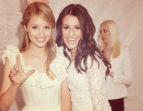 dianna agron, glee, lea michelle, smile