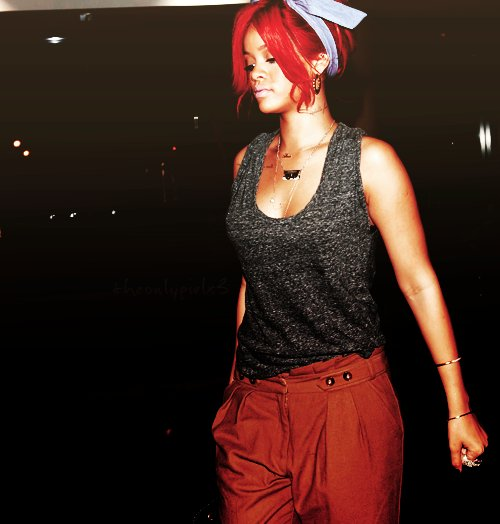 dope, fashion, headband, red hair, rihanna, style