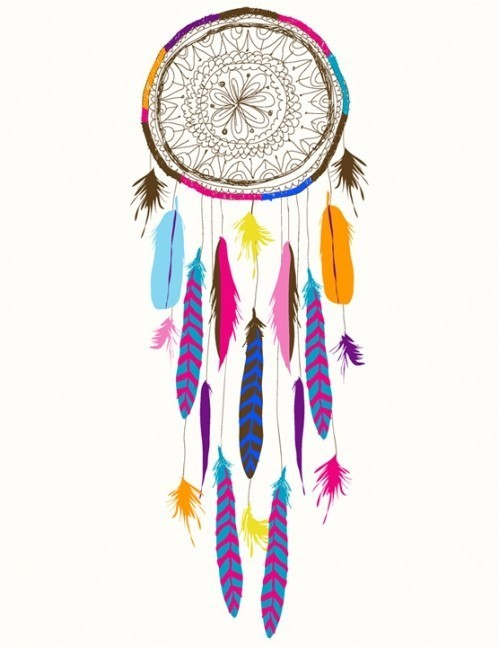 drawing, dreamcatcher, feathers