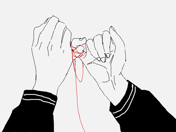 drawing, love, red thread