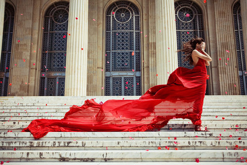 dress, fashion, flowers, photography, red, wind