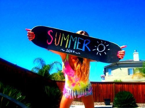 dress, girl, skateboard, summer