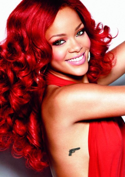 dress, gun, red, red hair, rihanna, tattoo