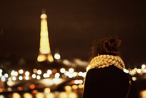eiffel tower, fashion, france, girl, hair, la tour eiffel, lights, look, model, night, nights, paris, winter
