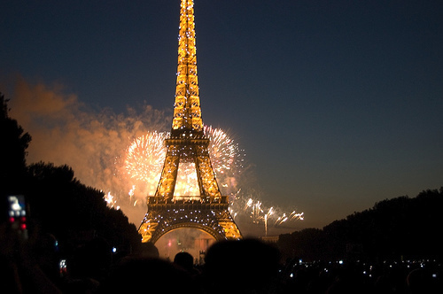 eiffel tower, fireworks, lights, night, paris