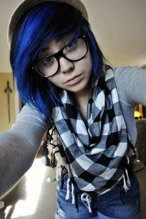 electric blue hair, emo, f4lconpunch