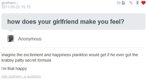 excited, feel, formula, girlfriend, krabby patty formula