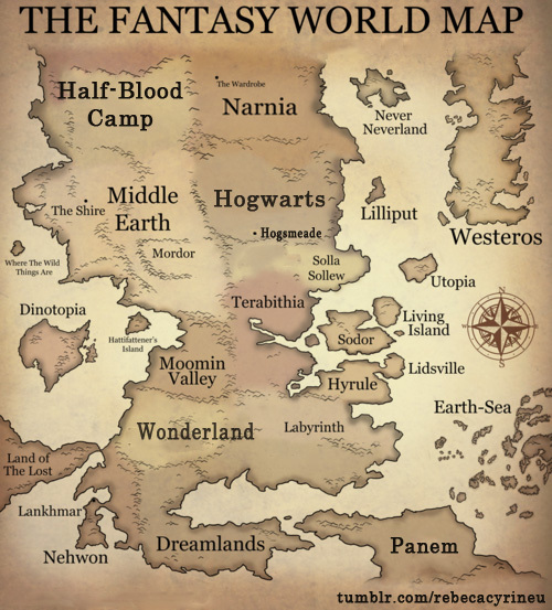 fantasy, hogwart, map, narnia, terabithia, world