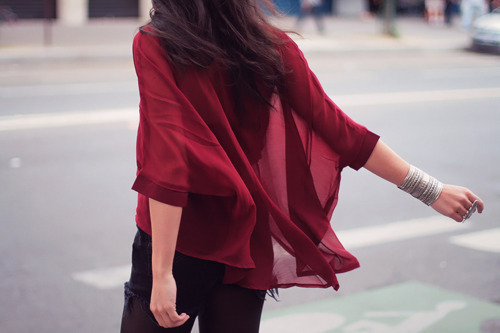 fashion, flowy, red, style