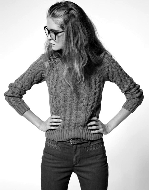 fashion, girl, glasses, hair, nerd, sweater, sweatshirt, trousers