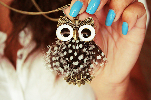 fashion, girl, nails, necklace, owl