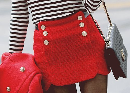 fashion, girl, red, skirt, vintage