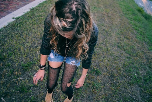 fashion, girl, ripped tights