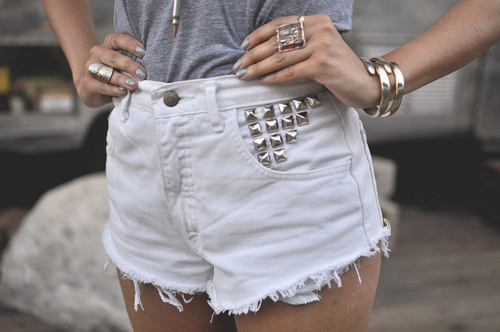 fashion, high waisted, shorts, studs, style, white