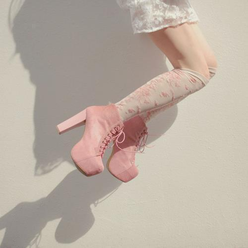 fashion, lace dress, pink shoes, shan shan, shoes