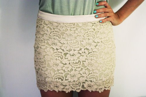 fashion, lace, nail polish, nails, skirt