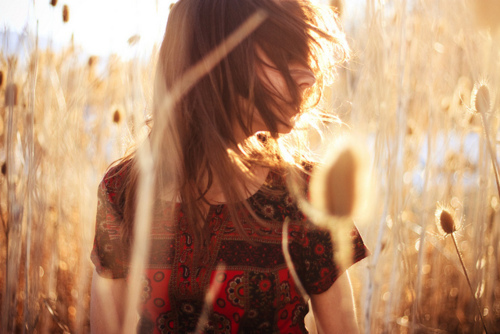 field, girl, hair, photography