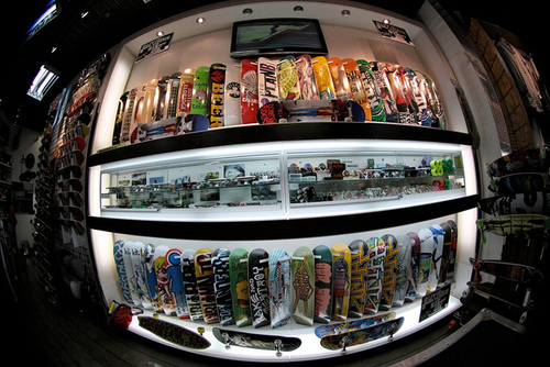 fisheye, photography, skate, skateboard, store